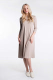 LADIES RIBBED HALO DRESS 3/4 SLEEVE