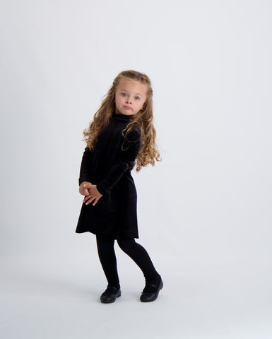 Kids Velvet Halo Mockneck Dress