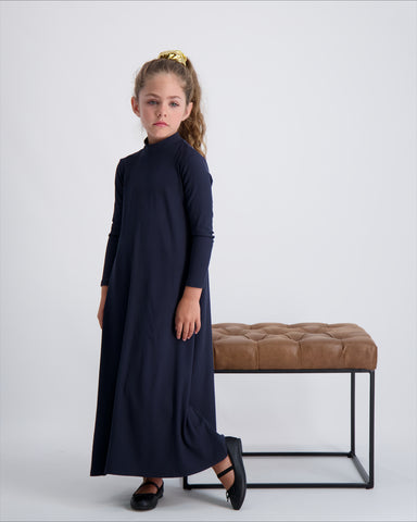 KIDS RIBBED MOCK NECK MAXI HALO DRESS LONG SLEEVE