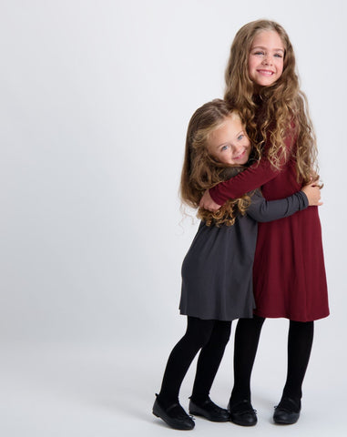 KIDS RIBBED MOCK NECK HALO DRESS LONG SLEEVE