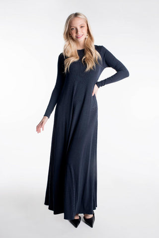 LADIES RIBBED MAXI HALO DRESS LONG SLEEVE