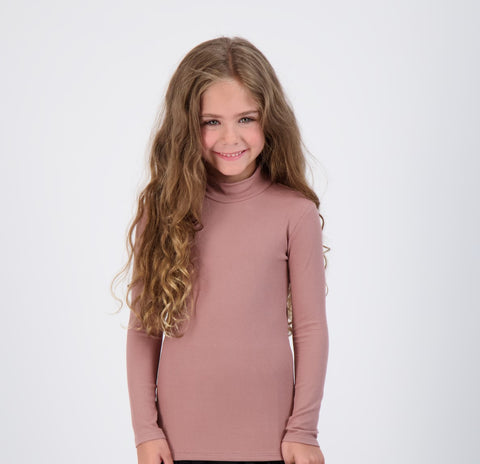 Kids Ribbed Long Sleeve Mock-neck
