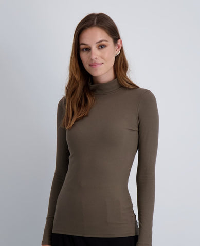 Ladies Ribbed Long Sleeve Mocknek