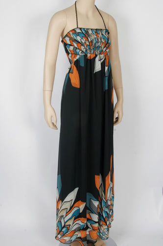 18ba8e5575 Forever 21 Feather Print Chiffon Maxi Dress-Size Small