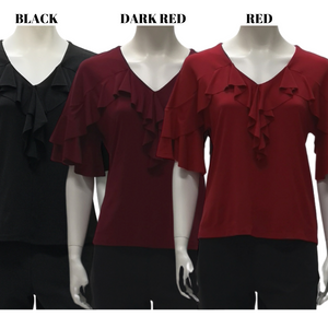 Jersey V Neck Frills Short Sleeve Blouse