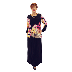 Floral Jersey Ruffle Sleeve Maxi Dress
