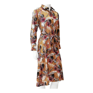 Printed Poly Belted Midi Shirt Dress