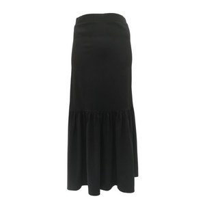 Poly Twill Tiered Long Skirt