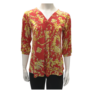 Printed Jersey V Neck 3/4 Puff Sleeve Blouse