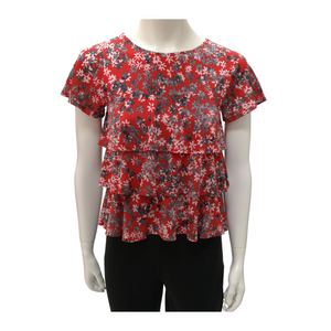 Printed Jersey Round Neck Short Sleeve Layered Blouse