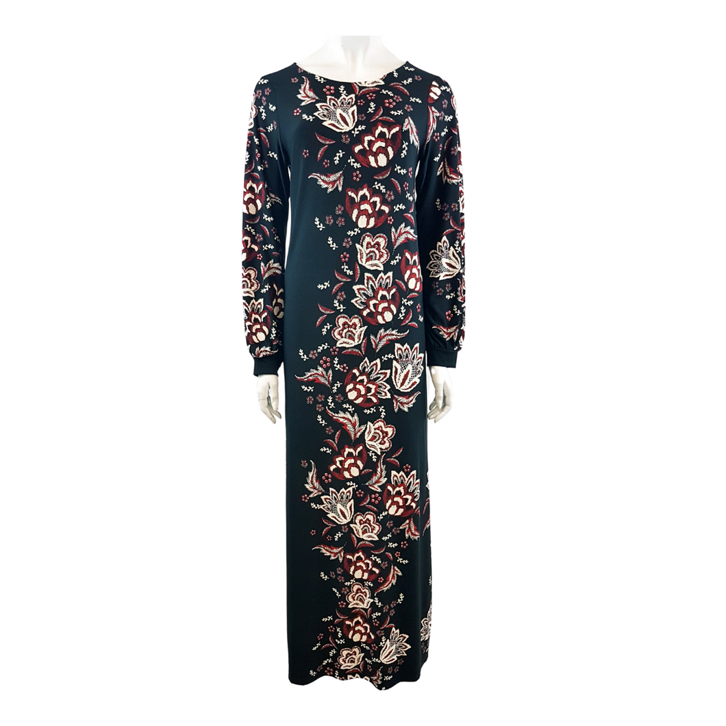 Printed Jersey Round Neck Long Sleeve Long Dress