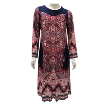 Printed Jersey Long Sleeve Knee Dress