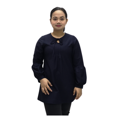 Poly Twill Drawsting Long Sleeve Blouse