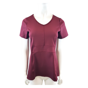 Poly Knit V Neck Short Sleeve Blouse