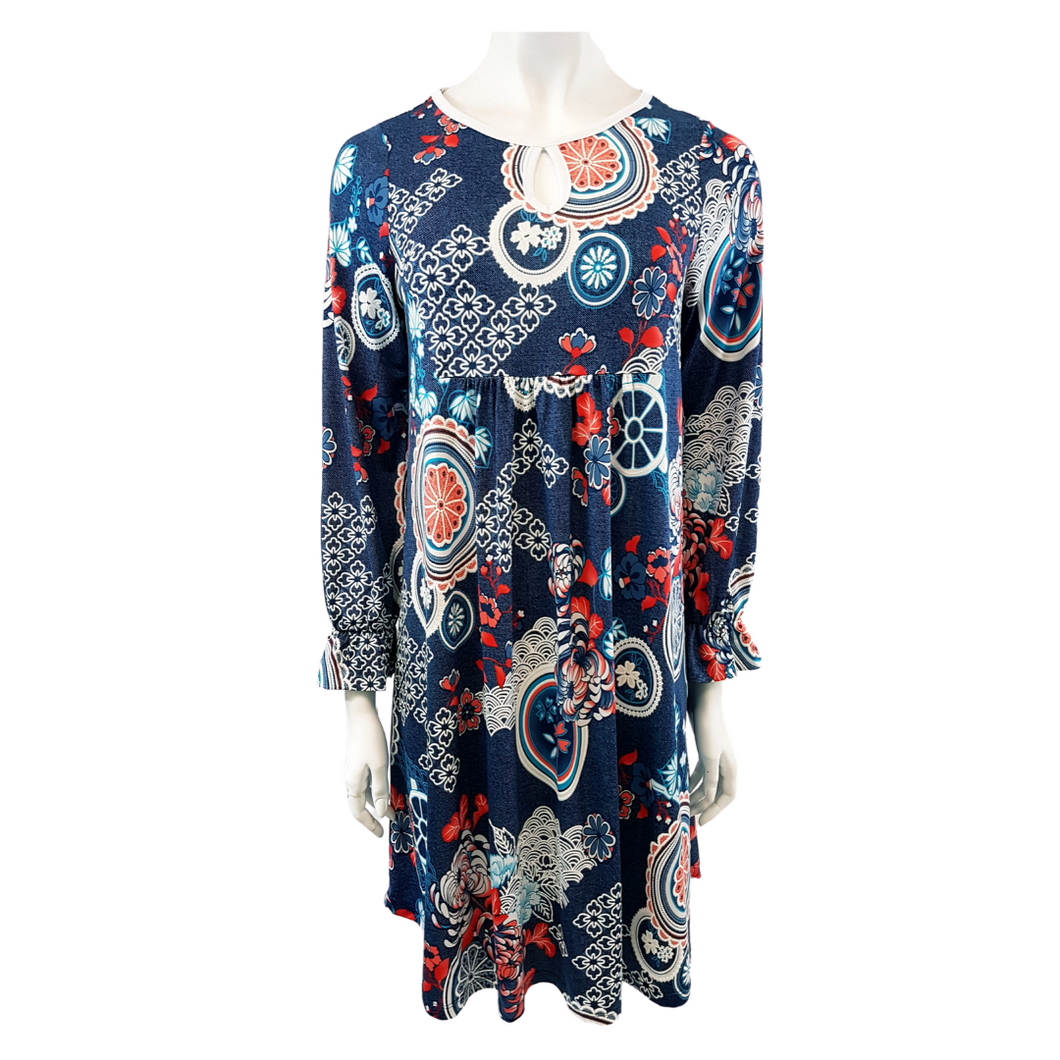 Printed Jersey Keyhole Neck Long Sleeve Blouse