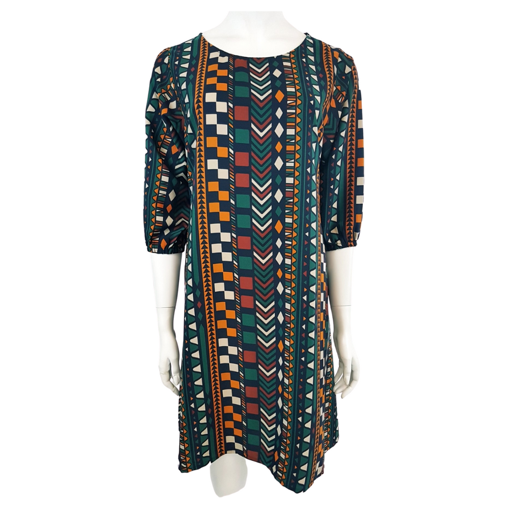 Printed Poly Round Neck 3/4 Sleeve Knee Dress