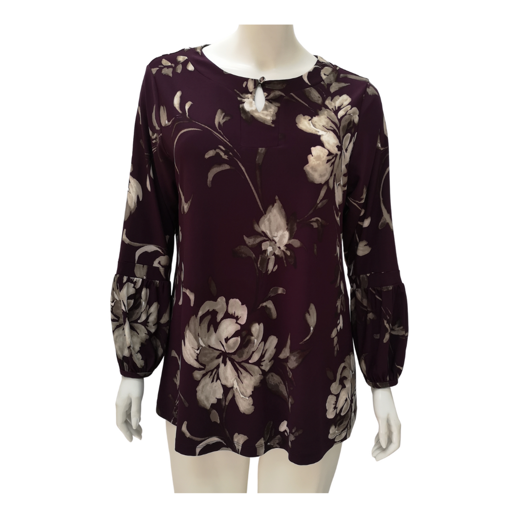 Printed Jersey Long Sleeve Blouse