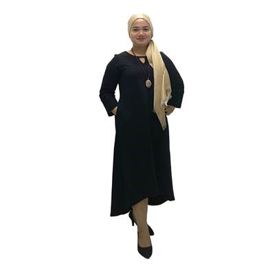 Cotton Fleeze Keyhole Neck Long Sleeve Midi Dress