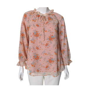 Printed Ruffled Peasant Blouse