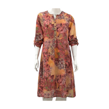 Printed Linen Shirt Knee Dress
