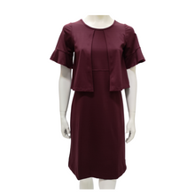 Poly Knit Round Neck Ruffle Knee Length Dress