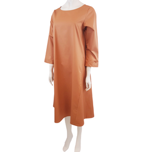 Cotton Linen Boat Neck Long Sleeve Midi Dress