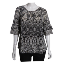 Printed Round Neck Ruffle Sleeve Top