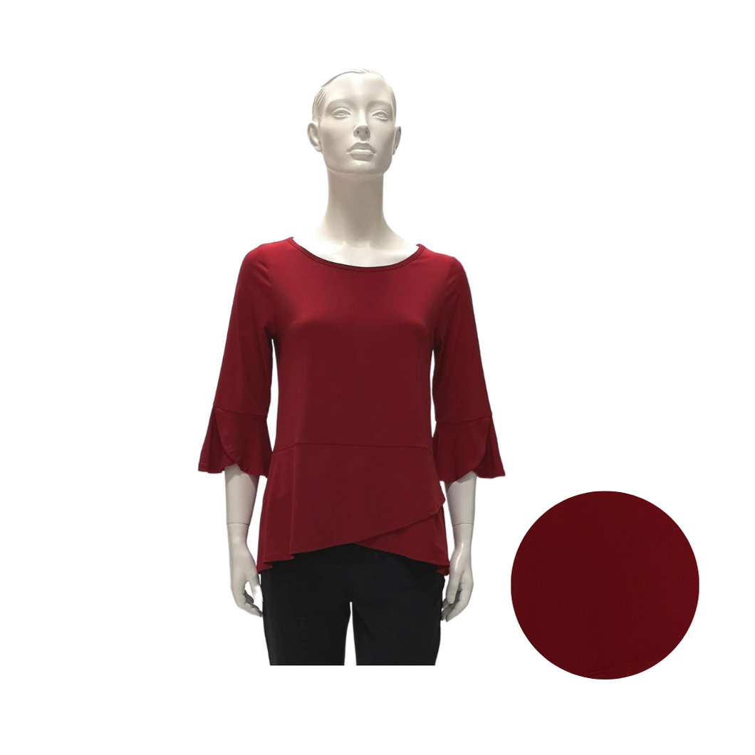 Jersey Round Neck 3/4 Sleeve Blouse