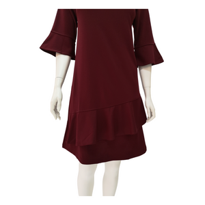 Poly Knit Ruffle Knee Dress