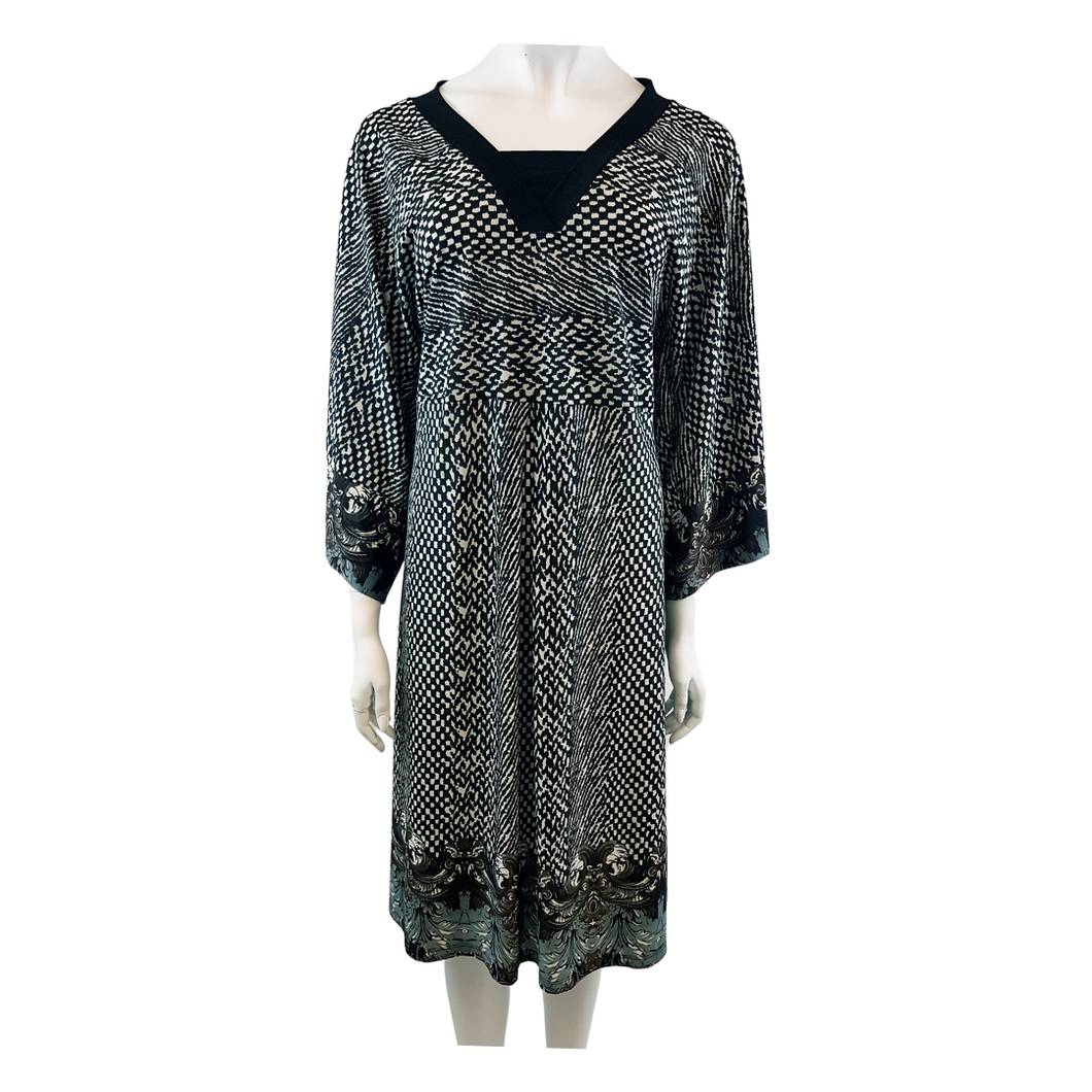 Printed Jersey V-Neck Long Sleeve Knee Length Dress