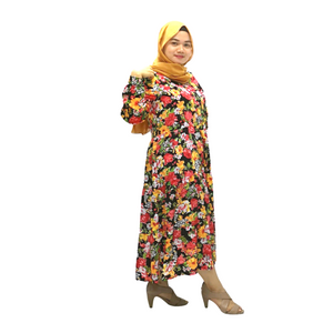 Printed Georgette Round Neck Long Sleeve Midi Dress