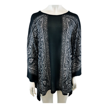 Printed Knitted Boat Neck Kaftan Blouse