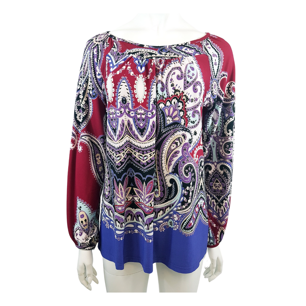 Printed Jersey Boat Neck 3/4 Sleeve Blouse