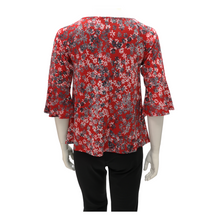 Printed Jersey DrawString Round Neck Ruffle Sleeve Blouse