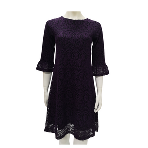 Laces 3/4 Sleeve Knee Dress