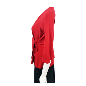 Jersey V Neck 3/4 Sleeve Wrap Blouse