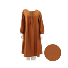 Poly Satin Long Sleeve Midi Dress