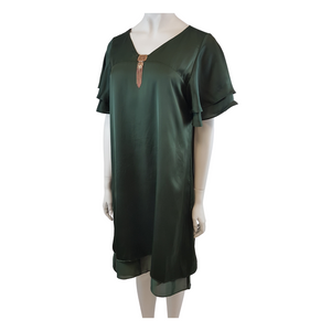 Satin Buckle V-Neck Short Sleeve Knee Length Dress