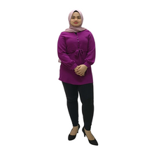 Poly Suiting Tie Front Blouse