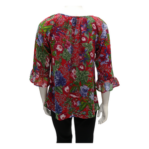 Printed Chiffon Peasant Long Sleeve Blouse