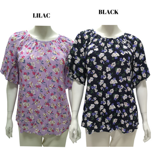 Printed Poly Short Sleeve Blouse