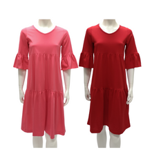 Cotton Jersey V Neck Tier Knee Dress