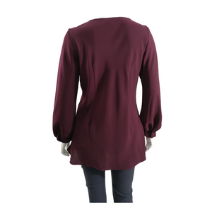 Poly Suiting Round Neck Long Sleeve Blouse