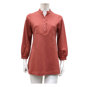 Cotton Knit Mandarin Long Sleeve Top