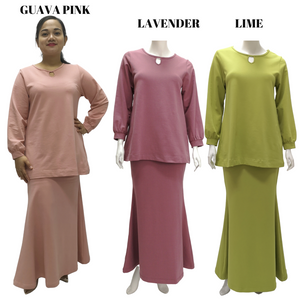 Cotton Knit Keyhole Neck Top Kurung