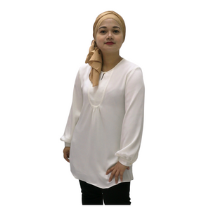 Poly Keyhole Neck Long Sleeve Blouse