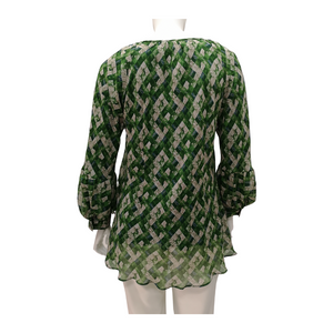 Printed Chiffon Layered Long Sleeve Blouse