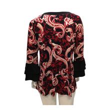 Printed Jersey Ruffle Long Sleeve Blouse