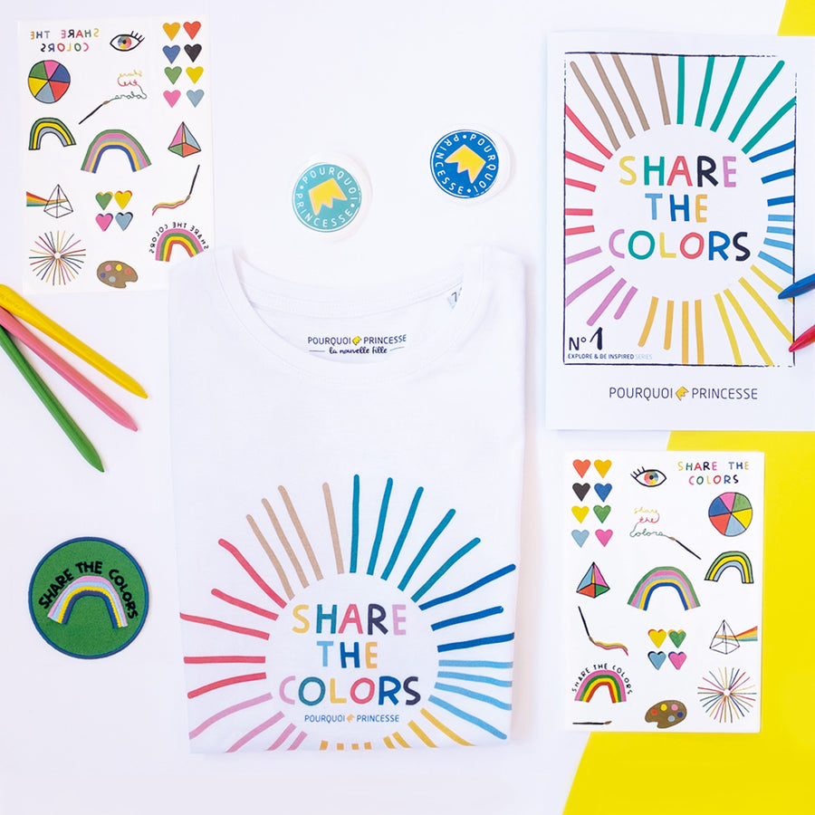 Pourquoi Princesse Share the Colors Box with organic t-shirt, temporary tattoos, activity book, patch and stickers.