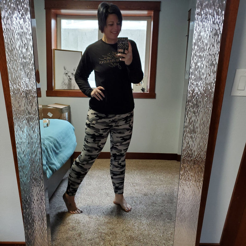 Black and Gray Camo Buttery Soft Leggings